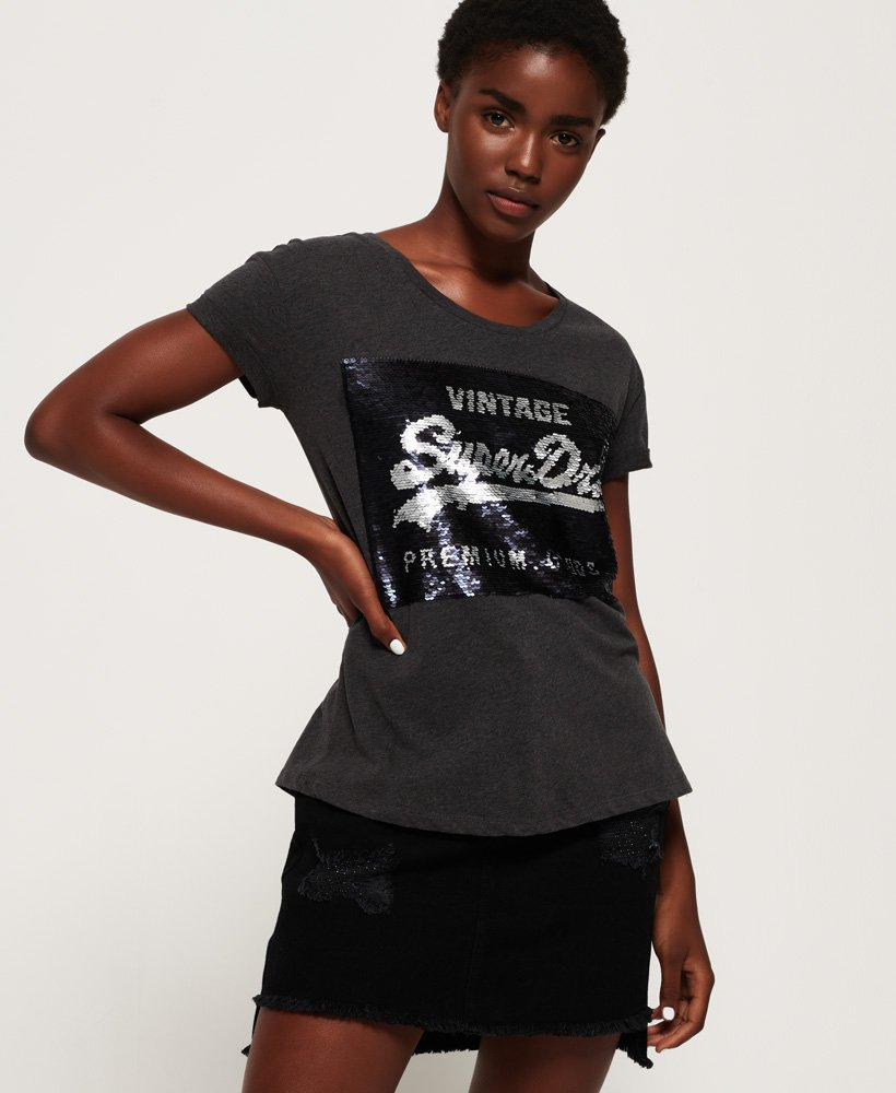 Superdry T-shirt coupe boyfriend slim Premium à sequins thumbnail 1