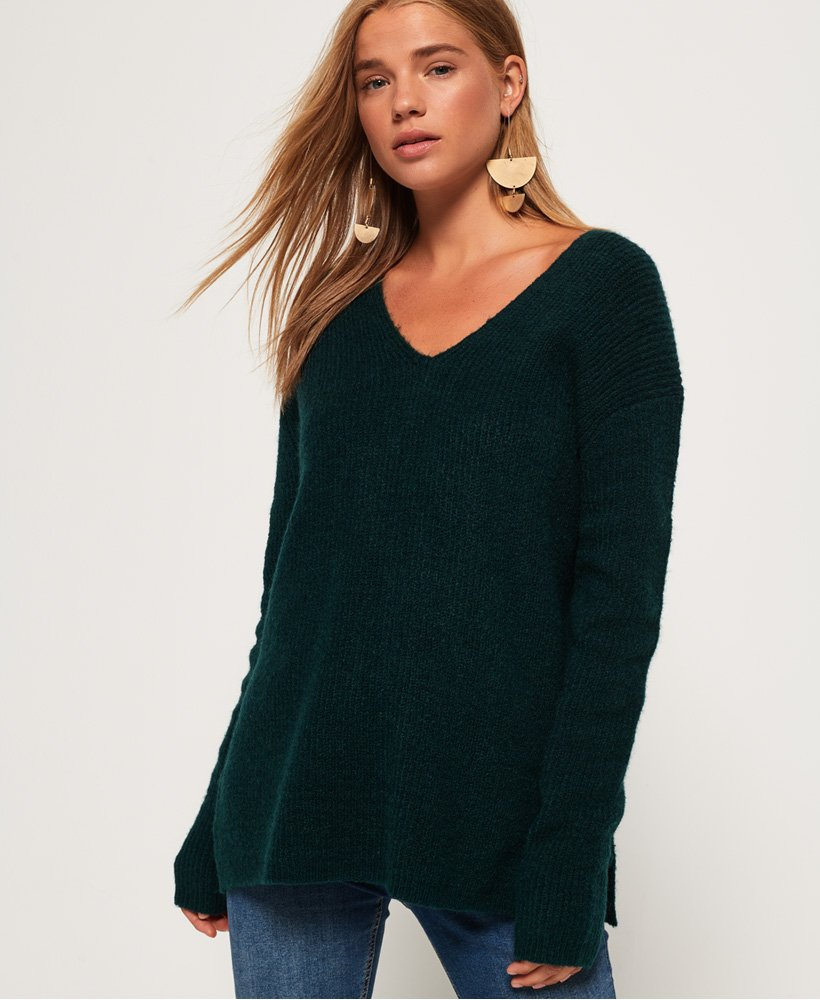 Superdry Peyton Ribbed Vee Jumper thumbnail 1