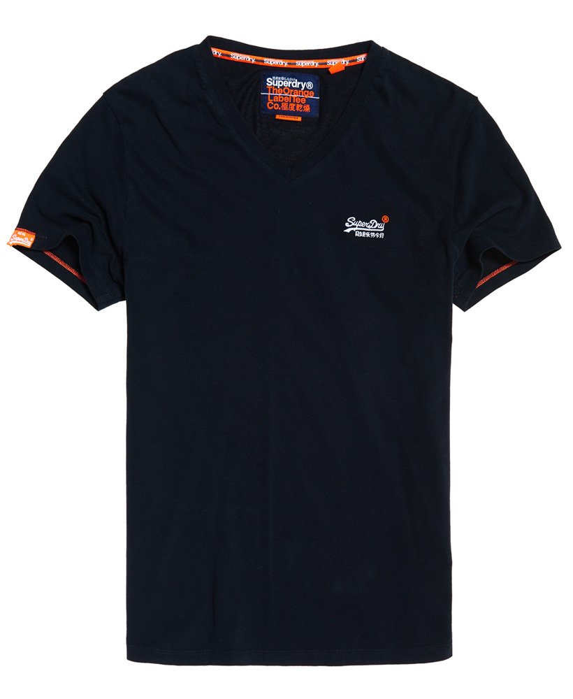 Superdry T-shirt con scollo a V e ricamo Vintage Orange Label