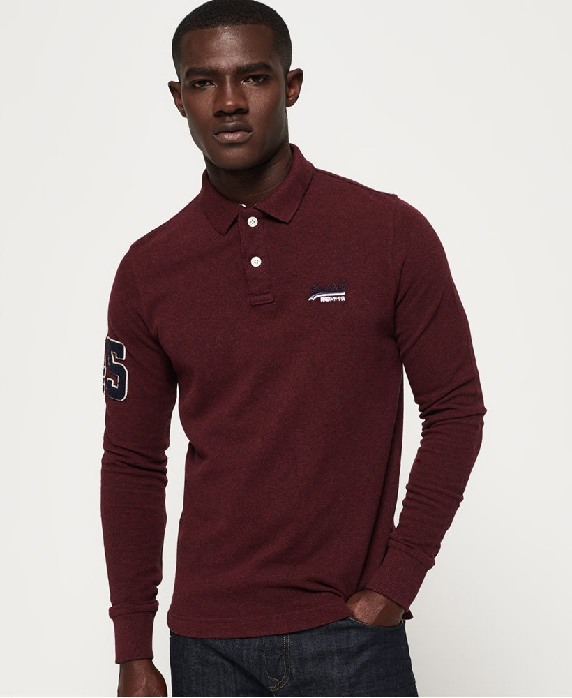 Superdry Classic Pique Long Sleeve Polo Shirt thumbnail 1