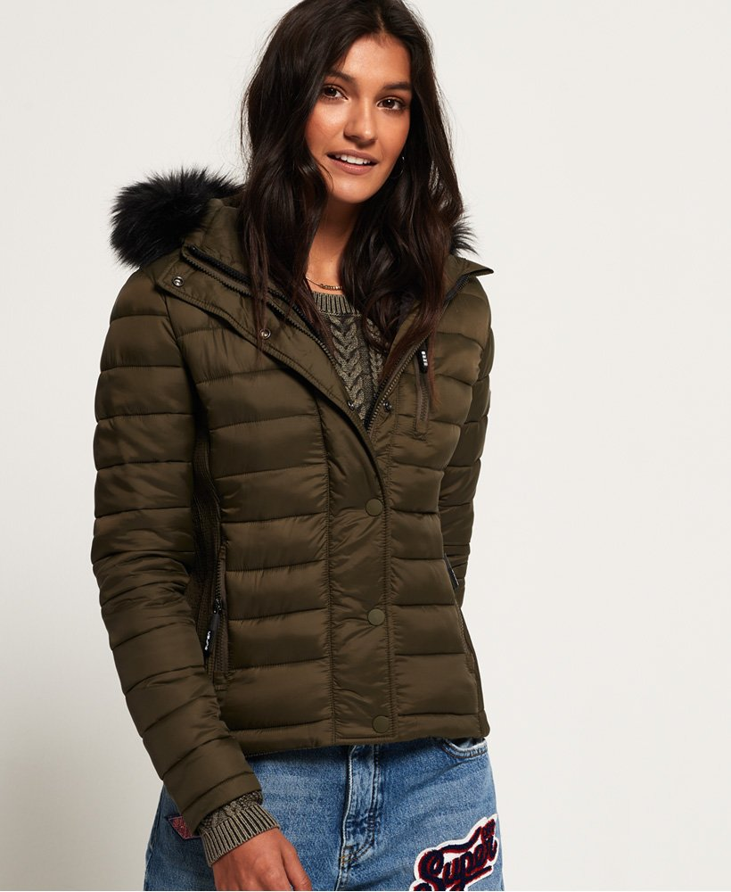Mens Double Zip Fuji Jacket in Army Green | Superdry