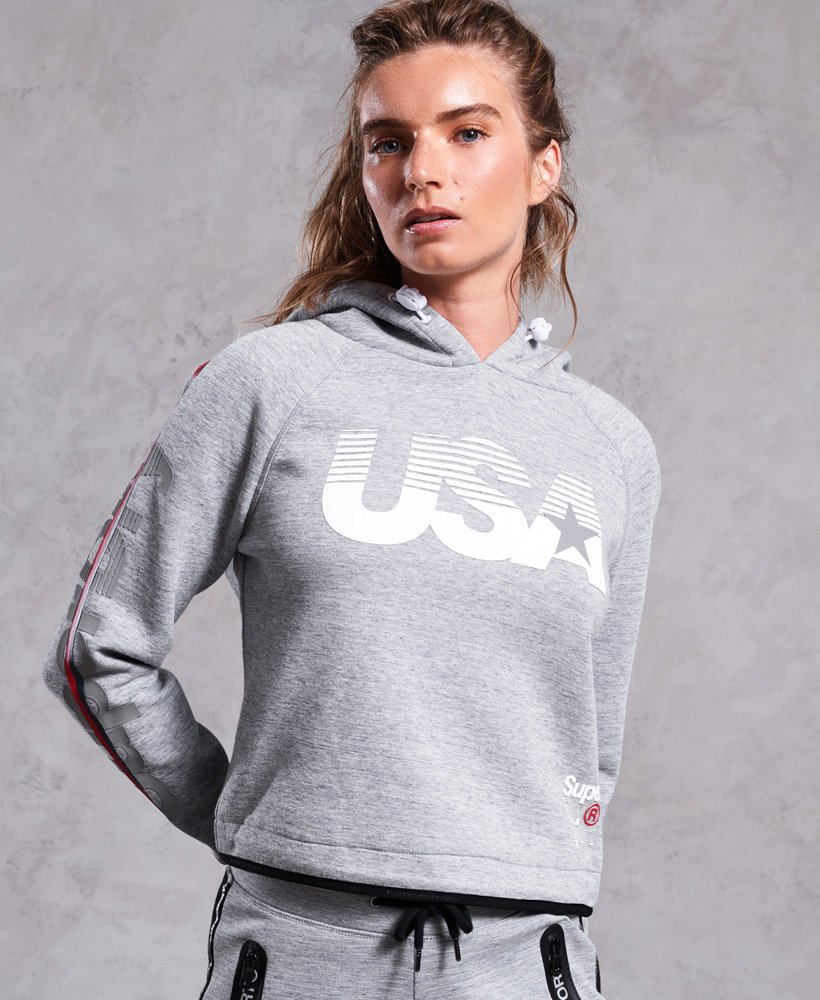 Superdry Gym Tech USA Crop Hoodie thumbnail 1