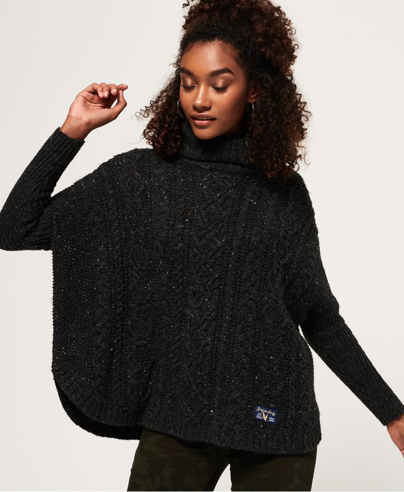 Superdry Pia Nep Cable Cape Sweater thumbnail 1
