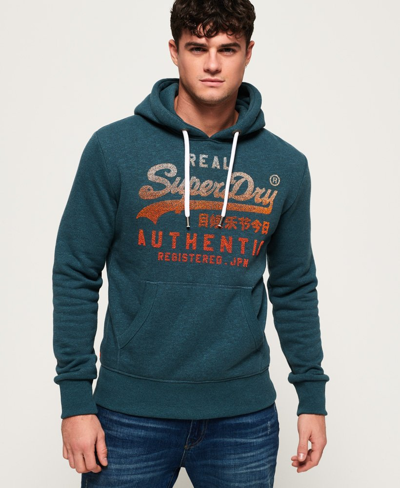 Superdry Sweat à capuche Fade Vintage Authentic Bleu