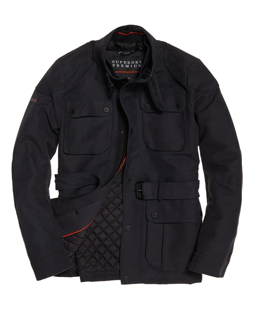 Neue Herren Superdry Premium Feldjacke mit 4 Taschen Steel Herringbone