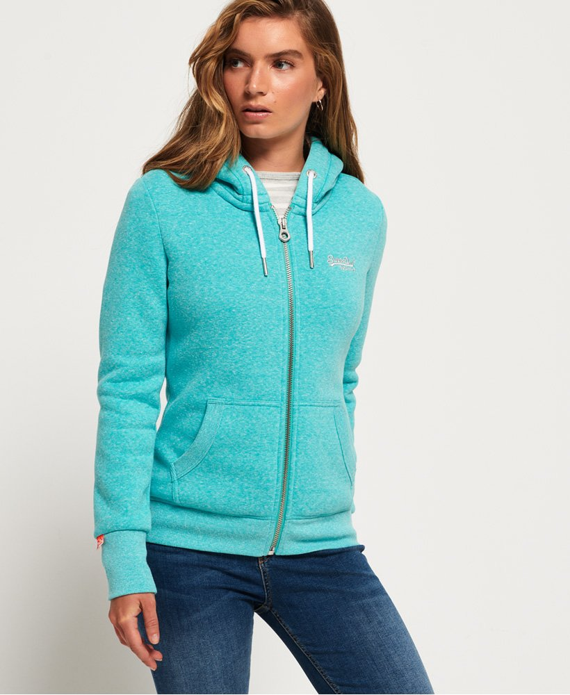 Superdry Women/'s Orange Label Zip Front Hoodie
