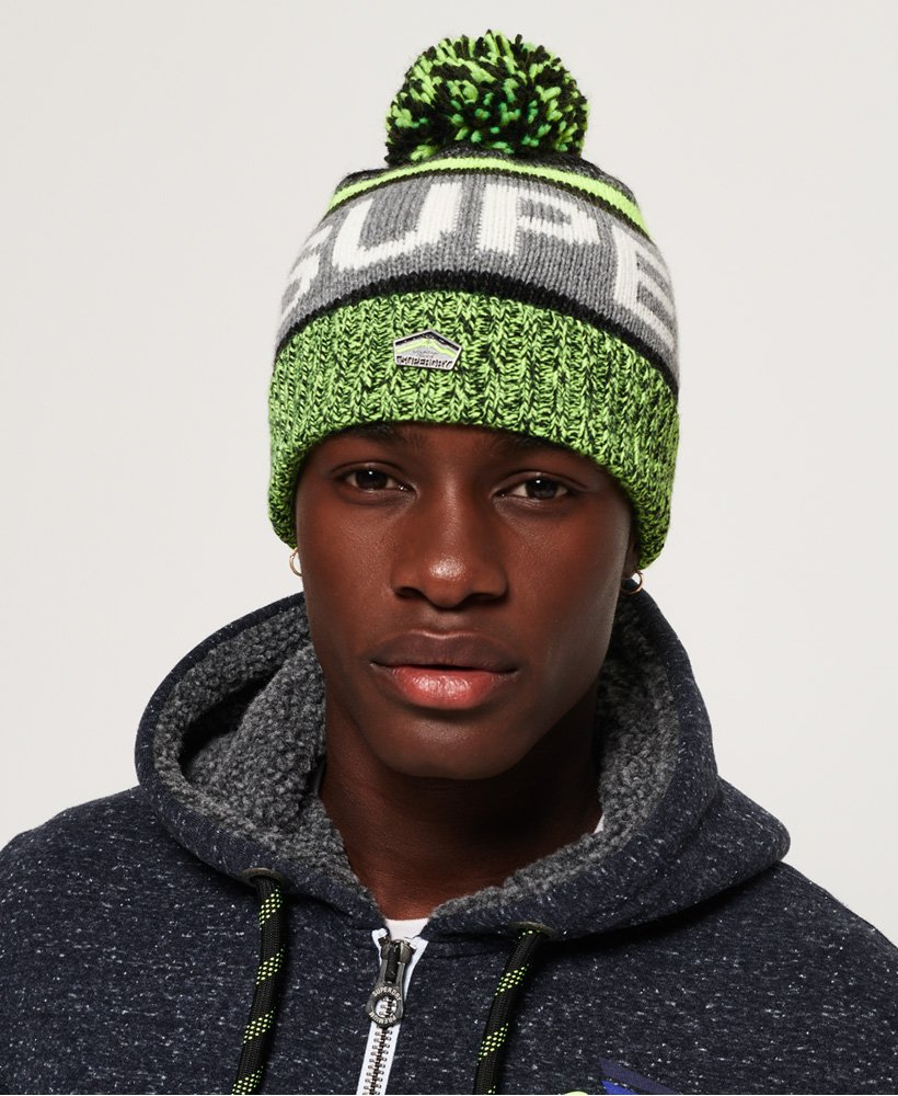 7683d8ca4f3 Mens - Super SD Logo Beanie in Charcoal lime Mix