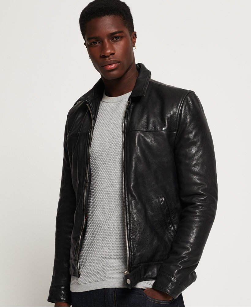 Mens Superdry Premium Indiana Leather Jacket in Black