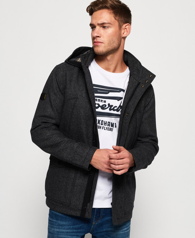 Superdry Gyton Hooded Wool Coat thumbnail 1