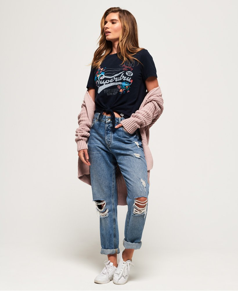 Superdry Womens High Flyers Floral Knot Front T-Shirt