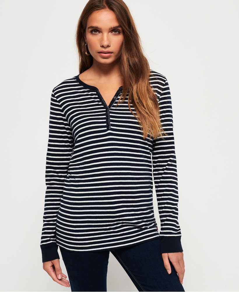 Superdry Stripe Grandad Top thumbnail 1