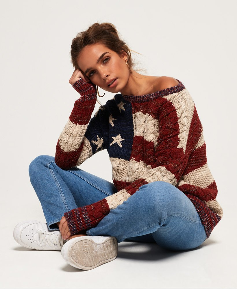 Superdry Americana Cable Knit Jumper thumbnail 1
