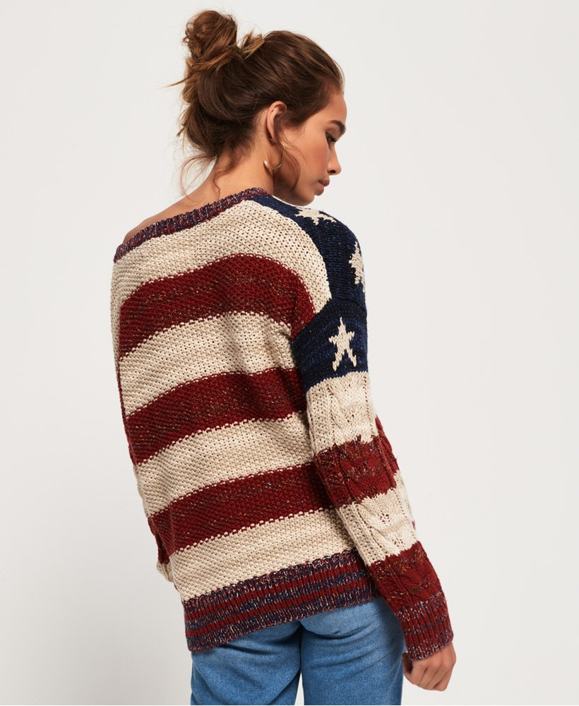Womens Americana Cable Knit Jumper in Navyburnt Redecru