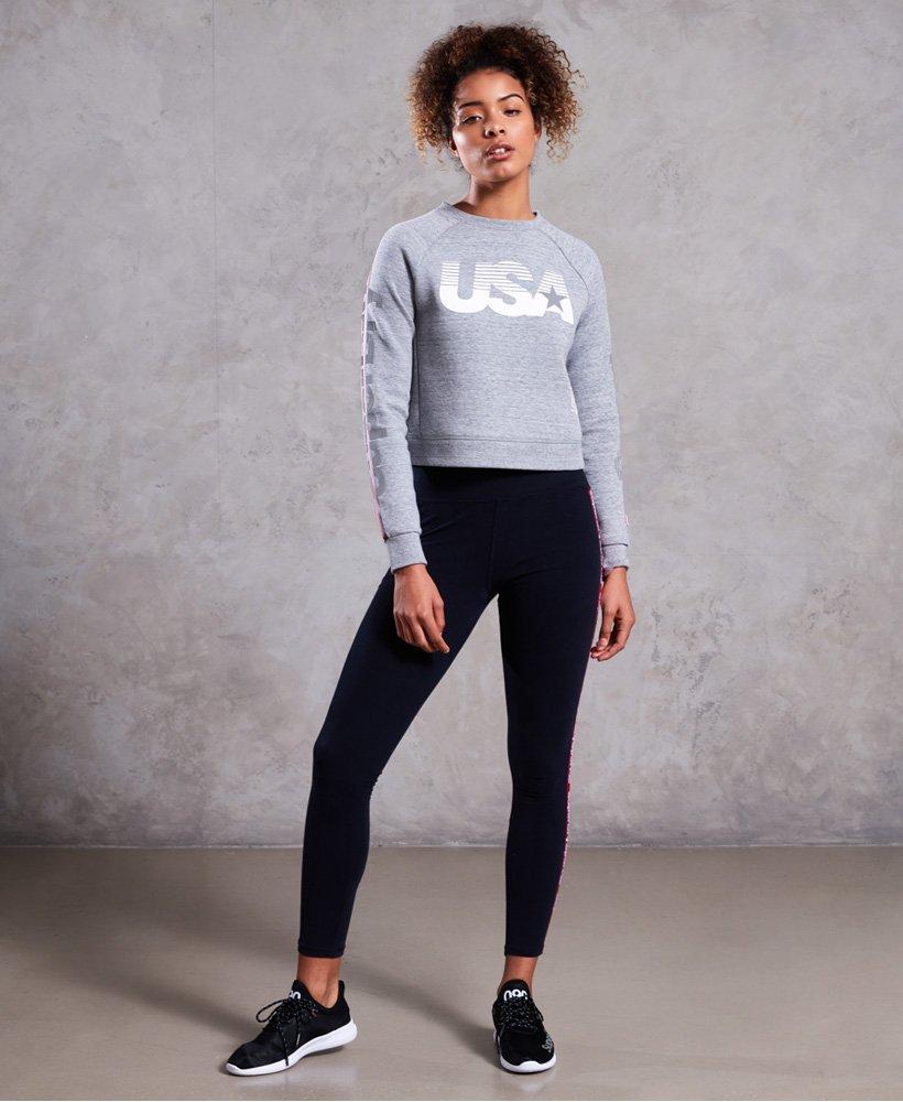 Superdry Womens Gym Tech Usa Crop Crew Sweatshirt