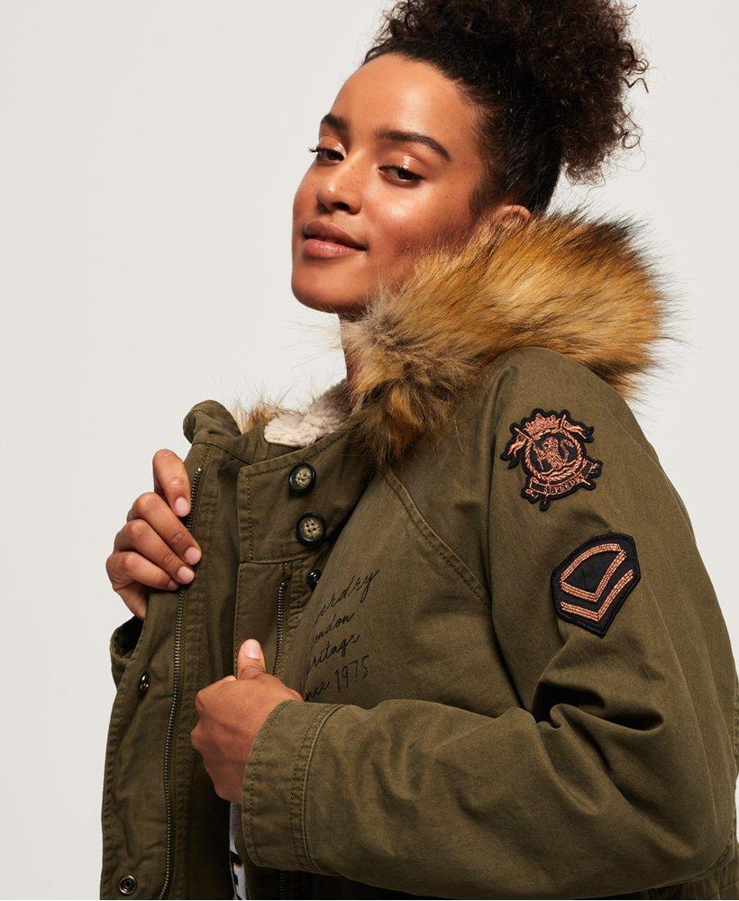 Womens Rookie Heavy Weather Tiger Parka Jacket in Khaki