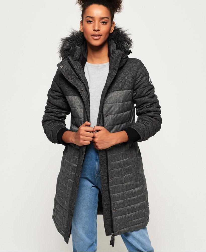 Superdry Elements Tweed Hooded Parka Jacket  thumbnail 1