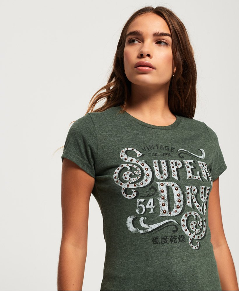 Superdry Frontier Script Studded T-Shirt thumbnail 1