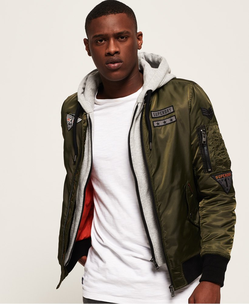 Mens Patch Rookie Flight Bomber Jacket In Khaki Superdry