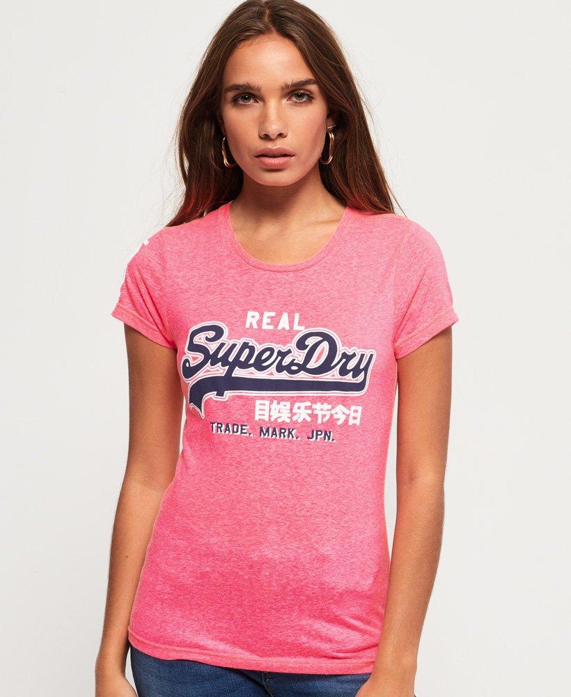 Superdry T-Shirt Women VINTAGE LOGO SNOWY Fluro Pink Snowy