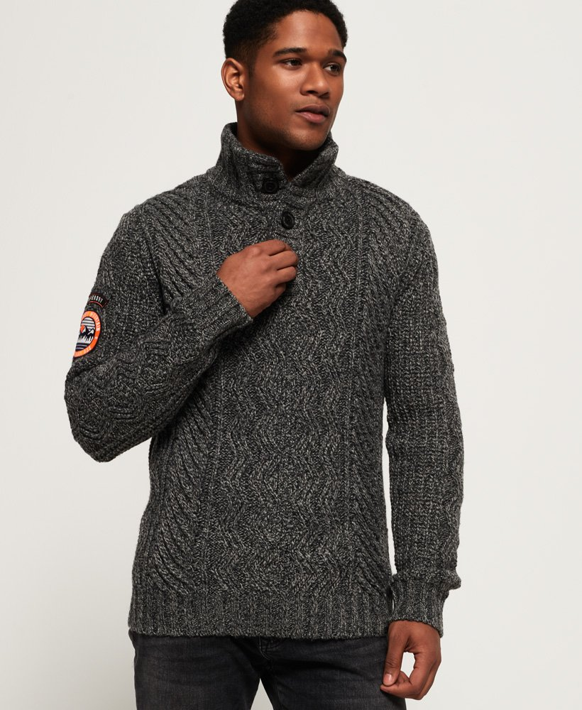 Superdry Montana Cable Henley Jumper thumbnail 1
