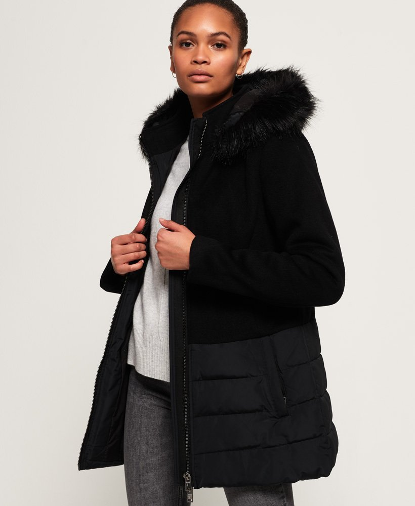 Superdry Wool Padded Hybrid Coat thumbnail 1