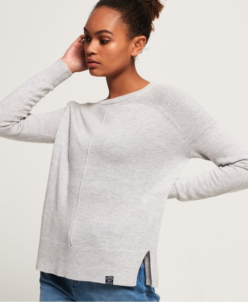 Womens Bria Raglan Knit in Dawn Grey Marl | Superdry