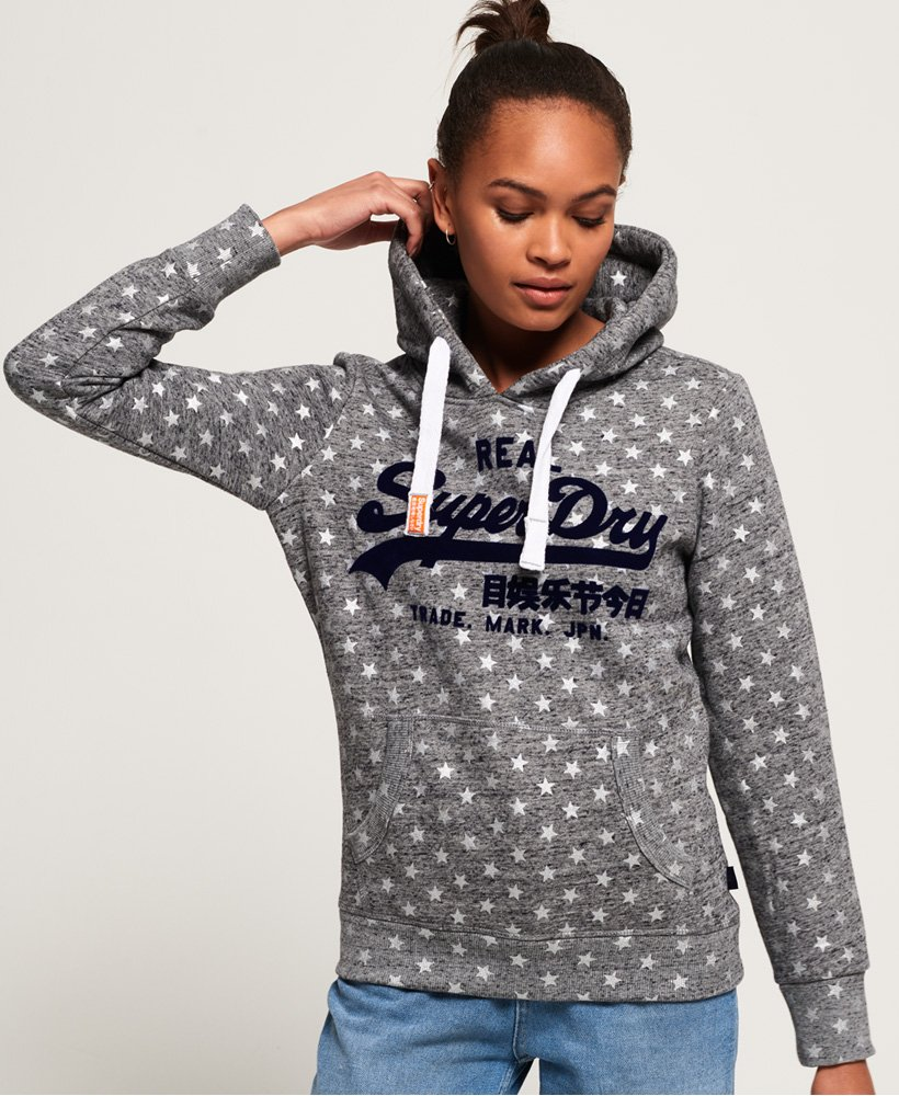 Superdry Vintage Logo Star All Over Print Hoodie  thumbnail 1