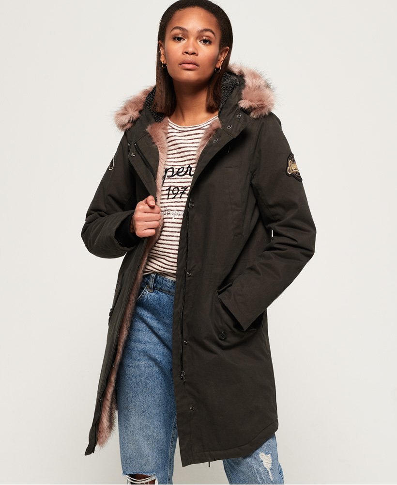 best sale yet not vulgar classic styles Womens - Frankie Faux Fur Lined Parka Jacket in Khaki | Superdry