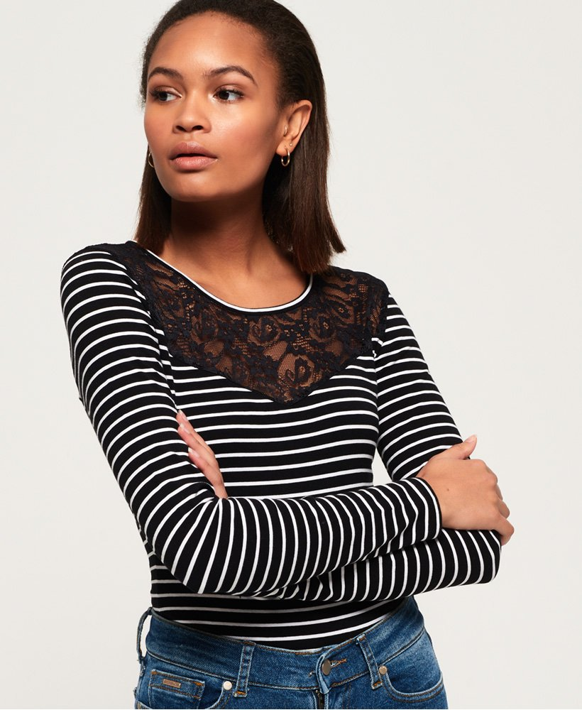 Superdry Long Sleeve Lace Mix Bodysuit thumbnail 1