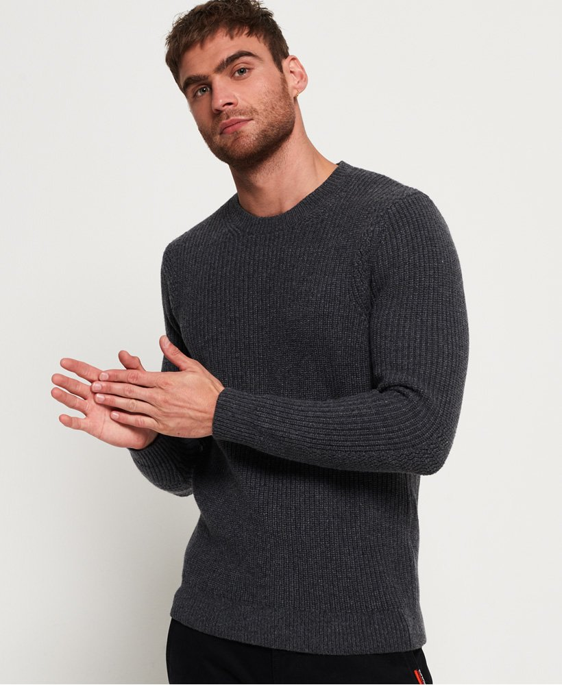 Superdry Premium Through Stitch Crew Neck Jumper thumbnail 1