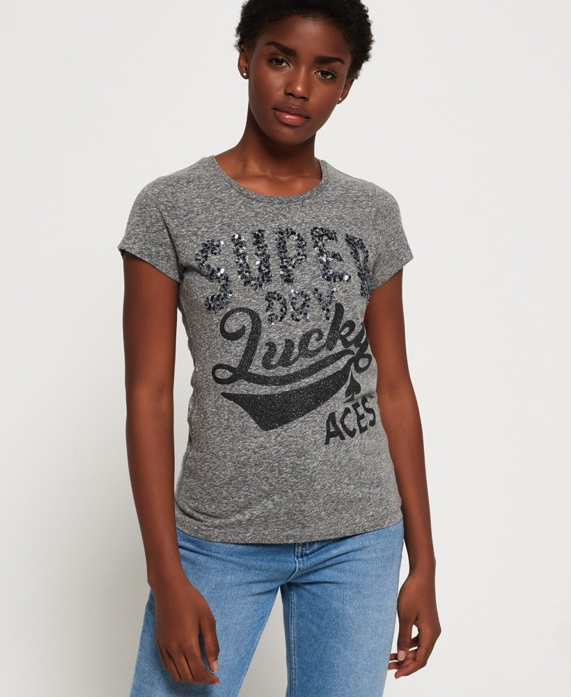 Superdry Lucky Aces T-shirt med pailletter
