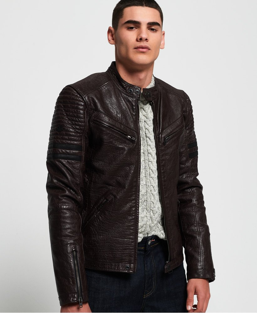 Superdry SD Endurance Indy Circuit Leather Jacket thumbnail 1