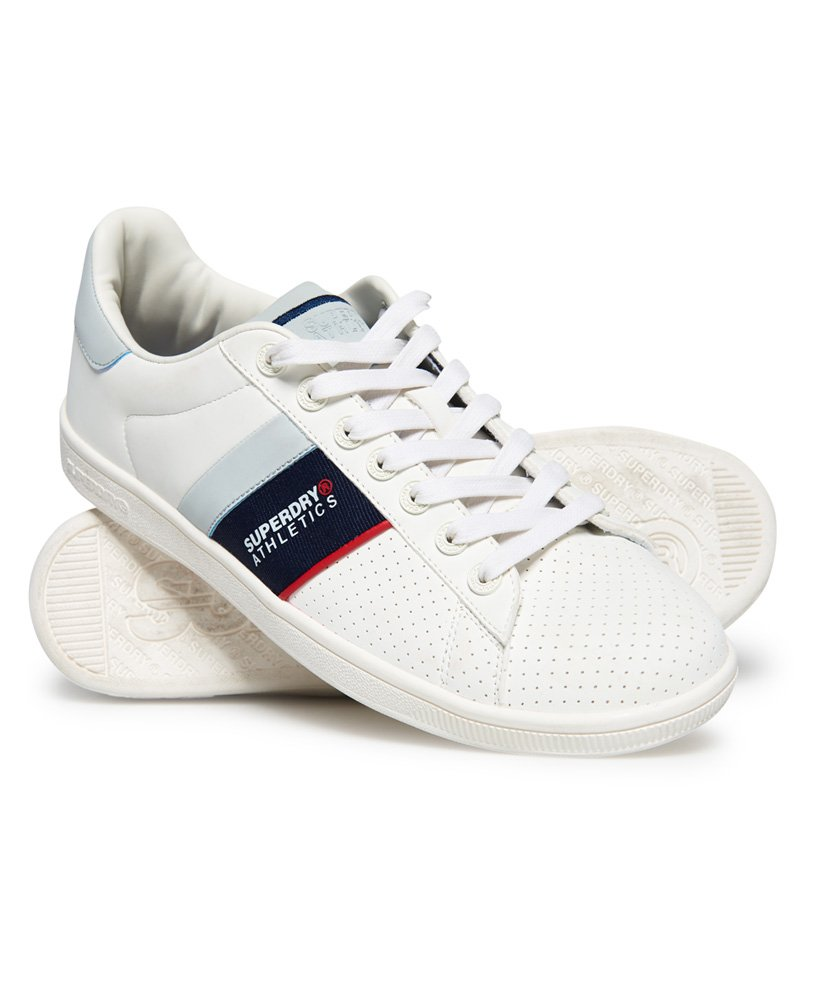 6f318df885c Mens - Sleek Tennis Trainers in Optic White dark Navy red
