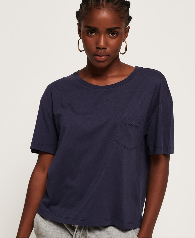 Neues Damen Superdry The Roskilde T-Shirt Blue Agate