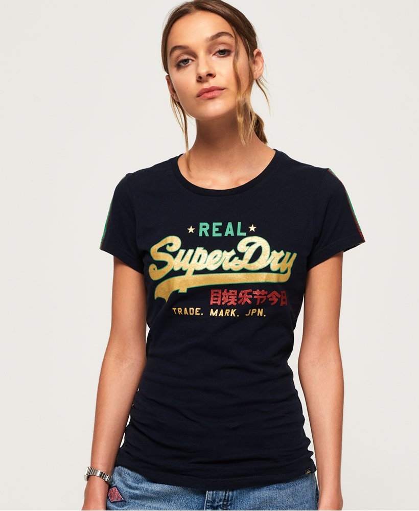 Superdry T-shirt Vintage Logo Regal rayé thumbnail 1