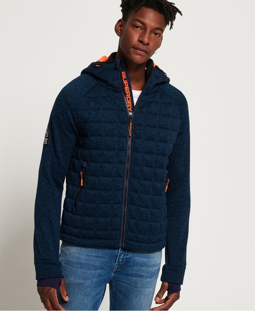 cf0c3bd92646 Mens - Storm Quilted Zip Hoodie in Indigo Navy Marl | Superdry
