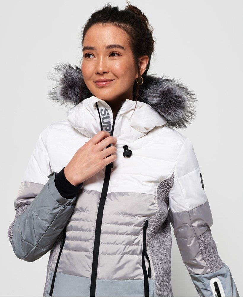 bc6410a3f0 Womens - Snow Cat Ski Down Jacket in Off White grey Reflective ...