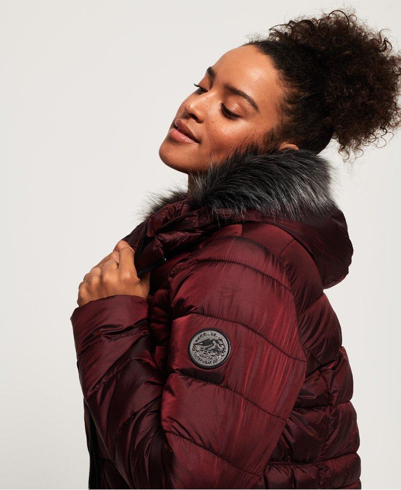New Womens Superdry Taiko Padded Faux Fur Jacket Dark Port