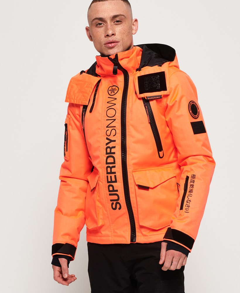 Mens Ultimate Snow Rescue Jacket In Hyper Orange Superdry