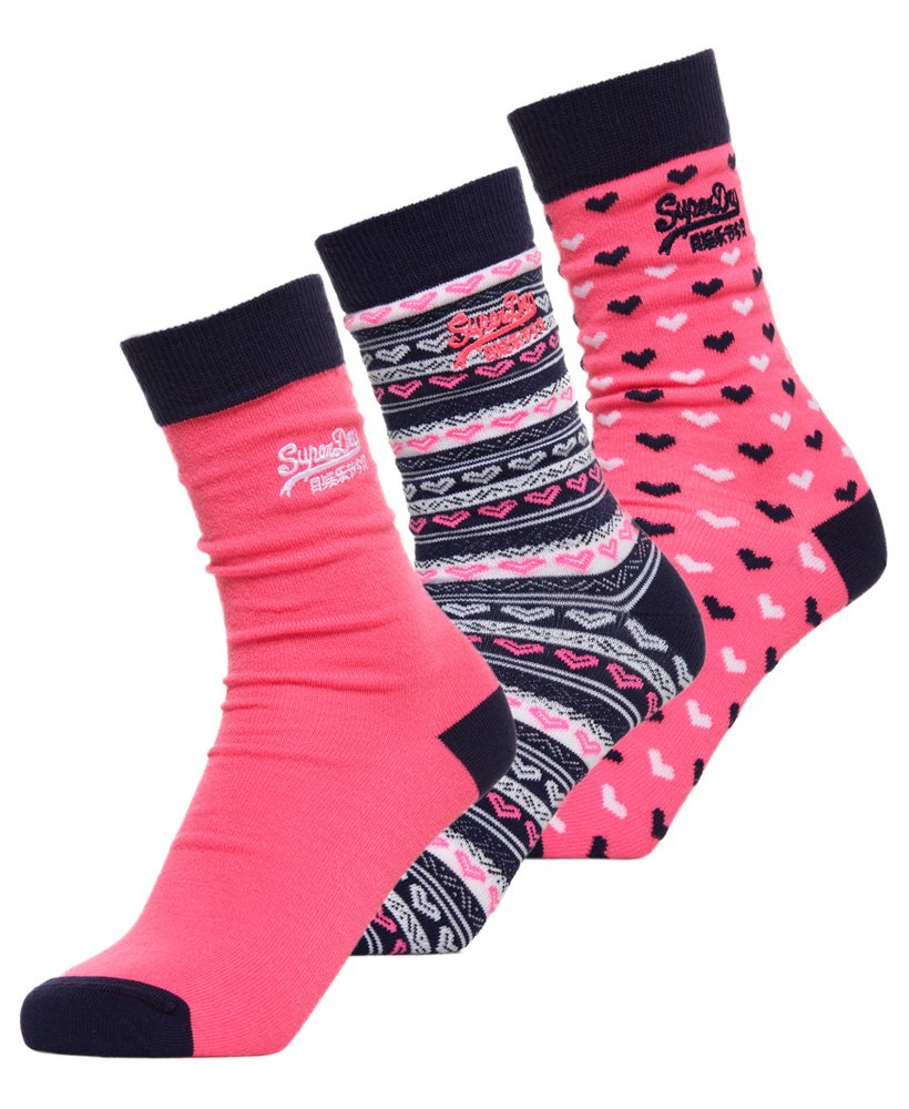 Superdry Heart Pop Socks Triple Pack