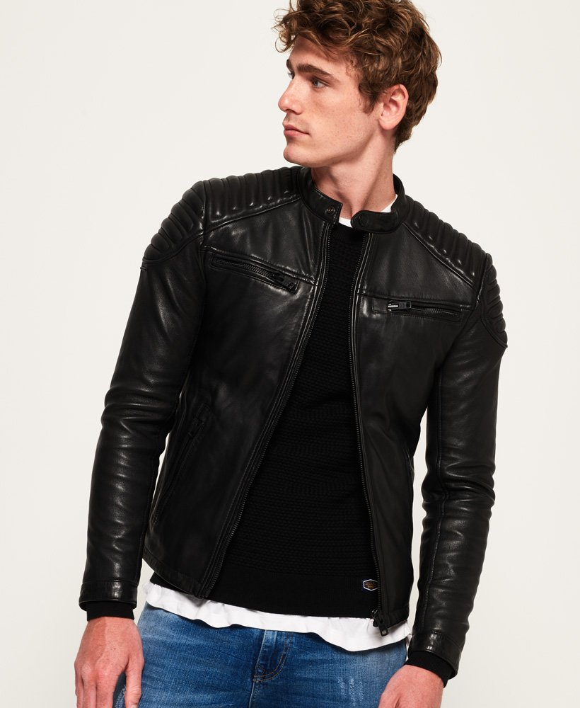 41417922b1d6 Mens - Hero Leather Racer Jacket in Black | Superdry