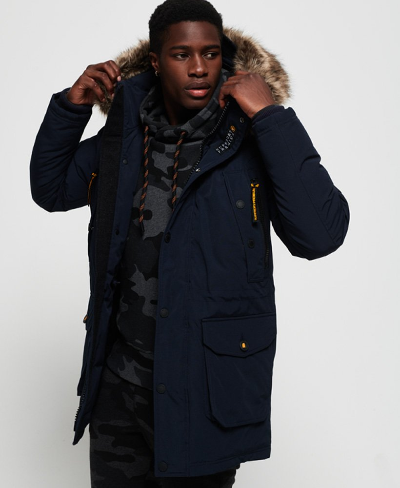 Mens Premium Ultimate Down Parka Jacket in Dark Navy