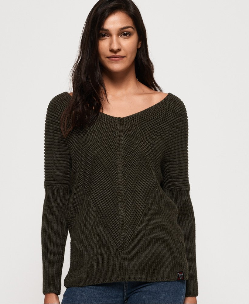 Superdry Cora Ribbed Vee Jumper  thumbnail 1