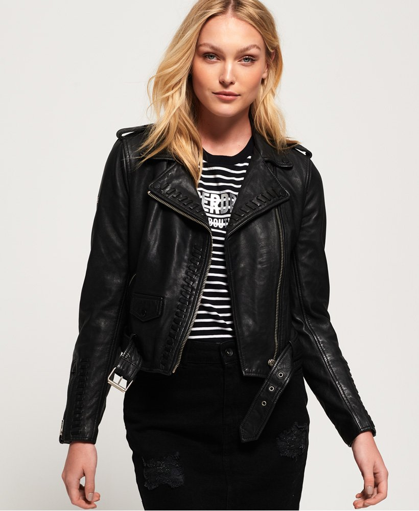 Superdry Kiki Leather Biker Jacket thumbnail 1