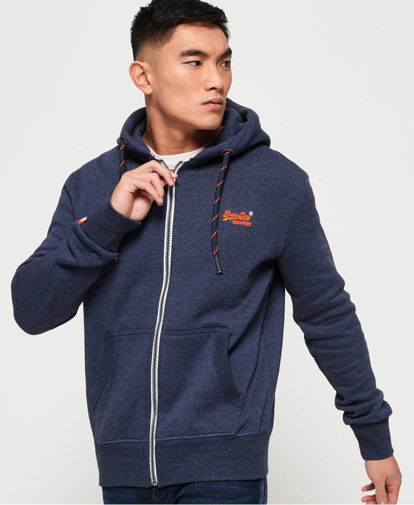 06cbcbd1662c Mens - Orange Label Zip Hoodie in Abyss Navy Feeder Stripe | Superdry