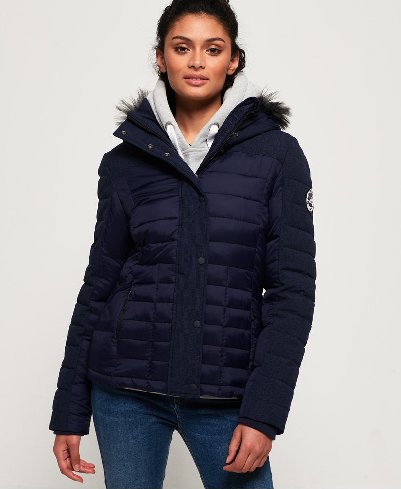 Superdry Elements Tweed Hybrid Hooded Jacket thumbnail 1