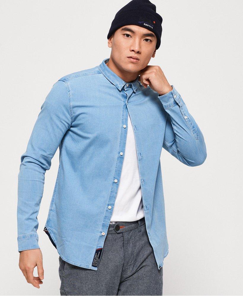 Overhemd Getailleerd Heren.Superdry Indigo Getailleerd Slimfit Overhemd Overhemden Voor Heren