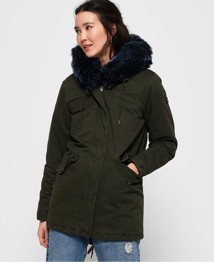 Superdry Hawk Coloured Faux Fur Parka Jacket