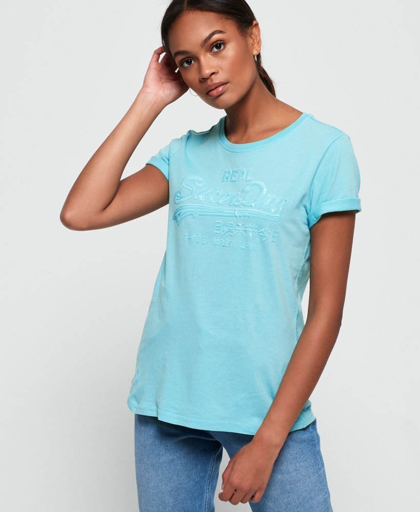 Superdry Vintage Logo Tonal T-shirt met lovertjes  thumbnail 1