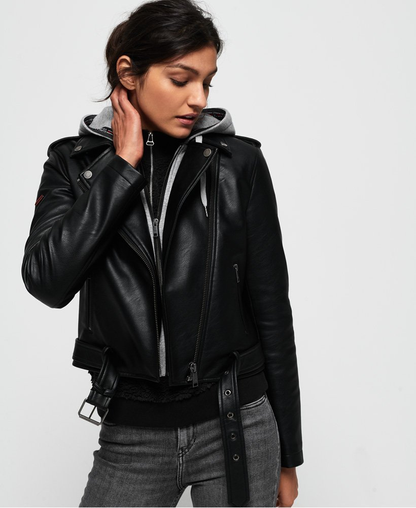 Superdry PU Hooded Biker Jacket  thumbnail 1